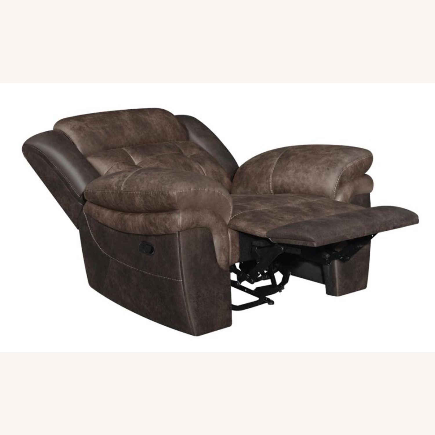 Recliner In Chocolate & Dark Brown Upholstery - image-1