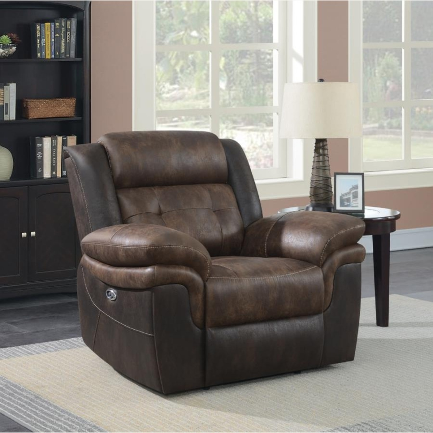 Power Recliner W/ Power Outlet In Chocolate Finish - image-9
