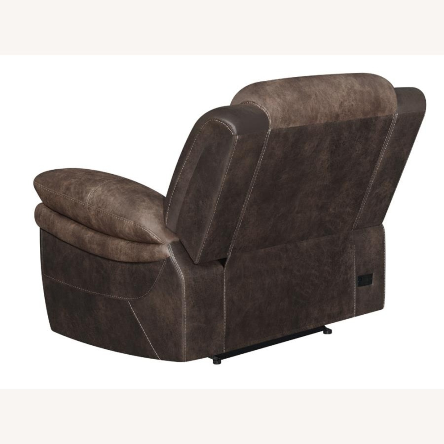 Power Recliner W/ Power Outlet In Chocolate Finish - image-3