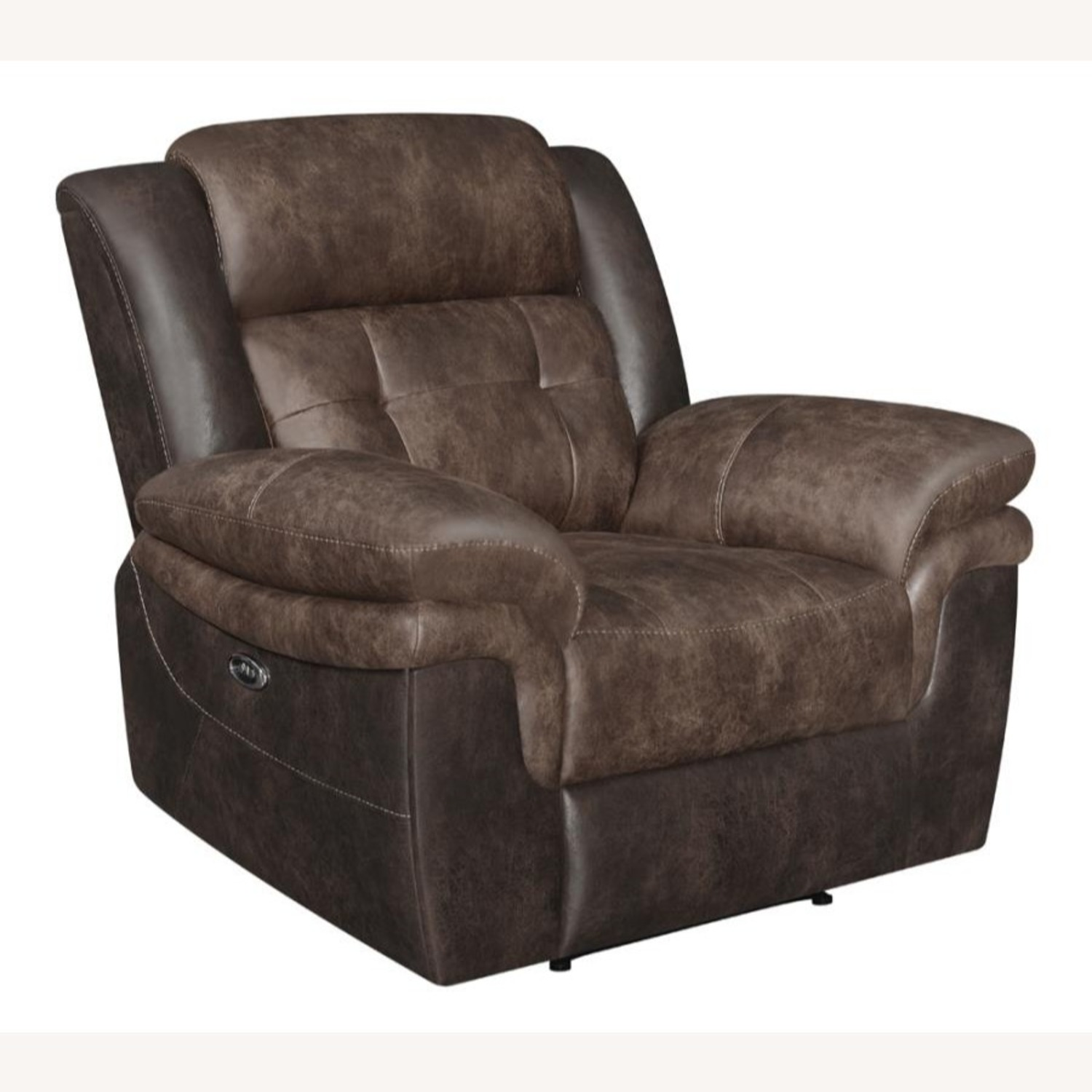 Power Recliner W/ Power Outlet In Chocolate Finish - image-0