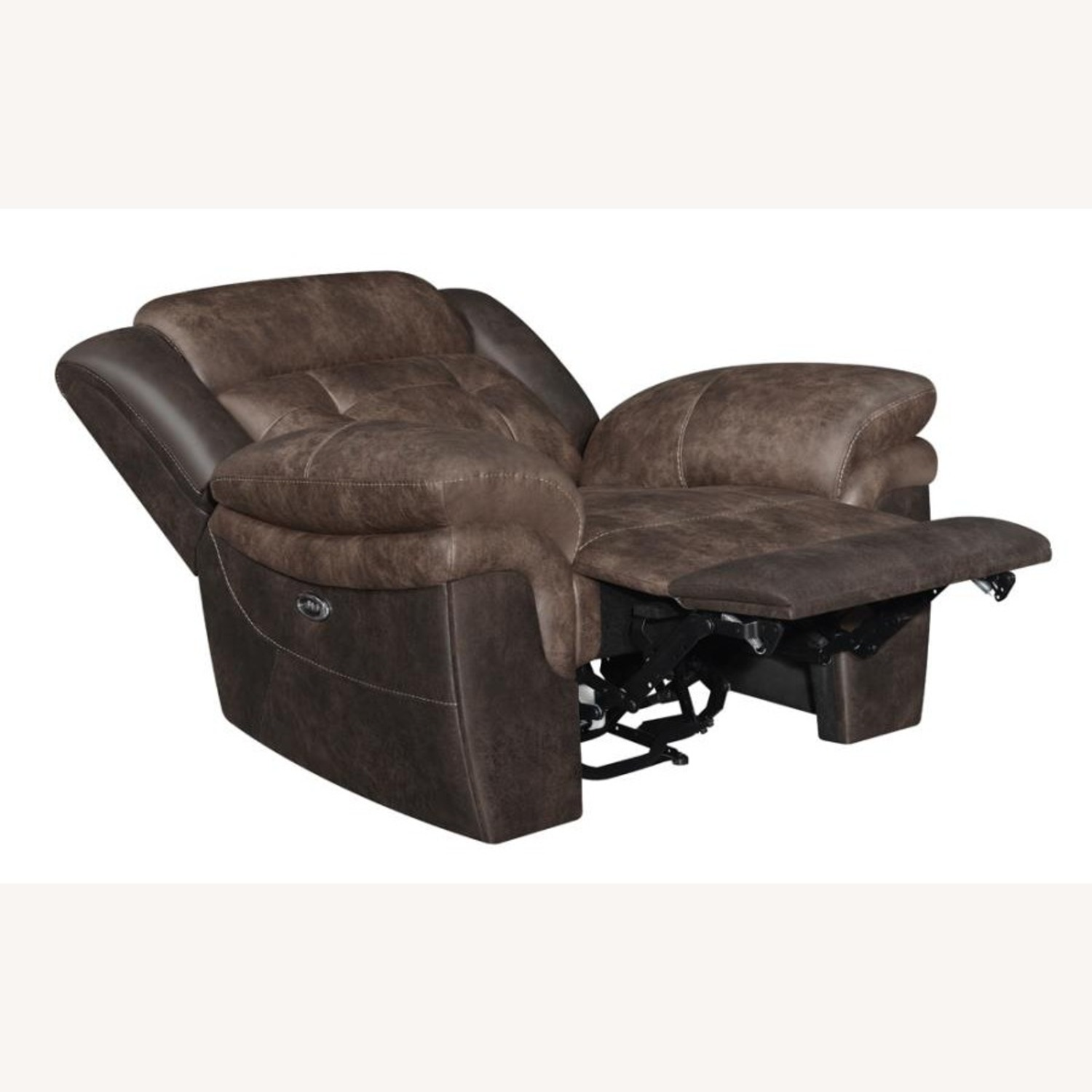 Power Recliner W/ Power Outlet In Chocolate Finish - image-1
