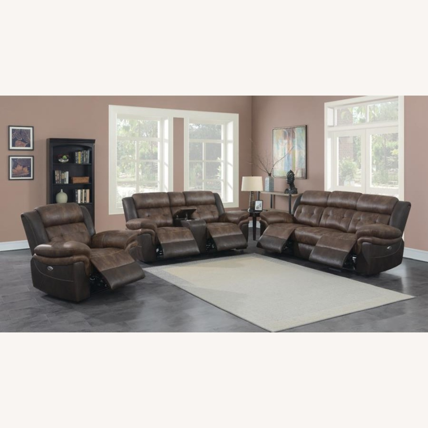 Power Recliner W/ Power Outlet In Chocolate Finish - image-10