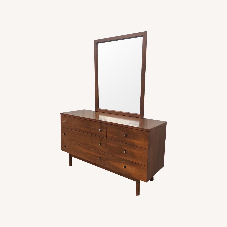 Mid Century Six Drawer Dresser with Mirror - image-0