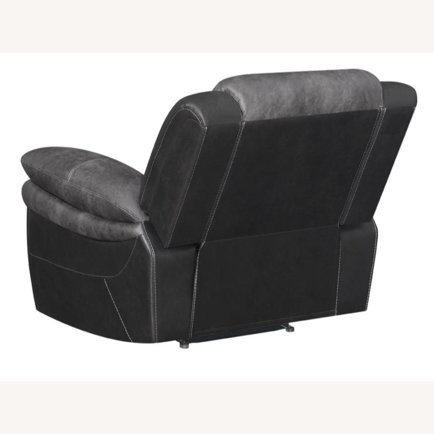 Recliner In Two-Tone Charcoal & Black Upholstery - image-3