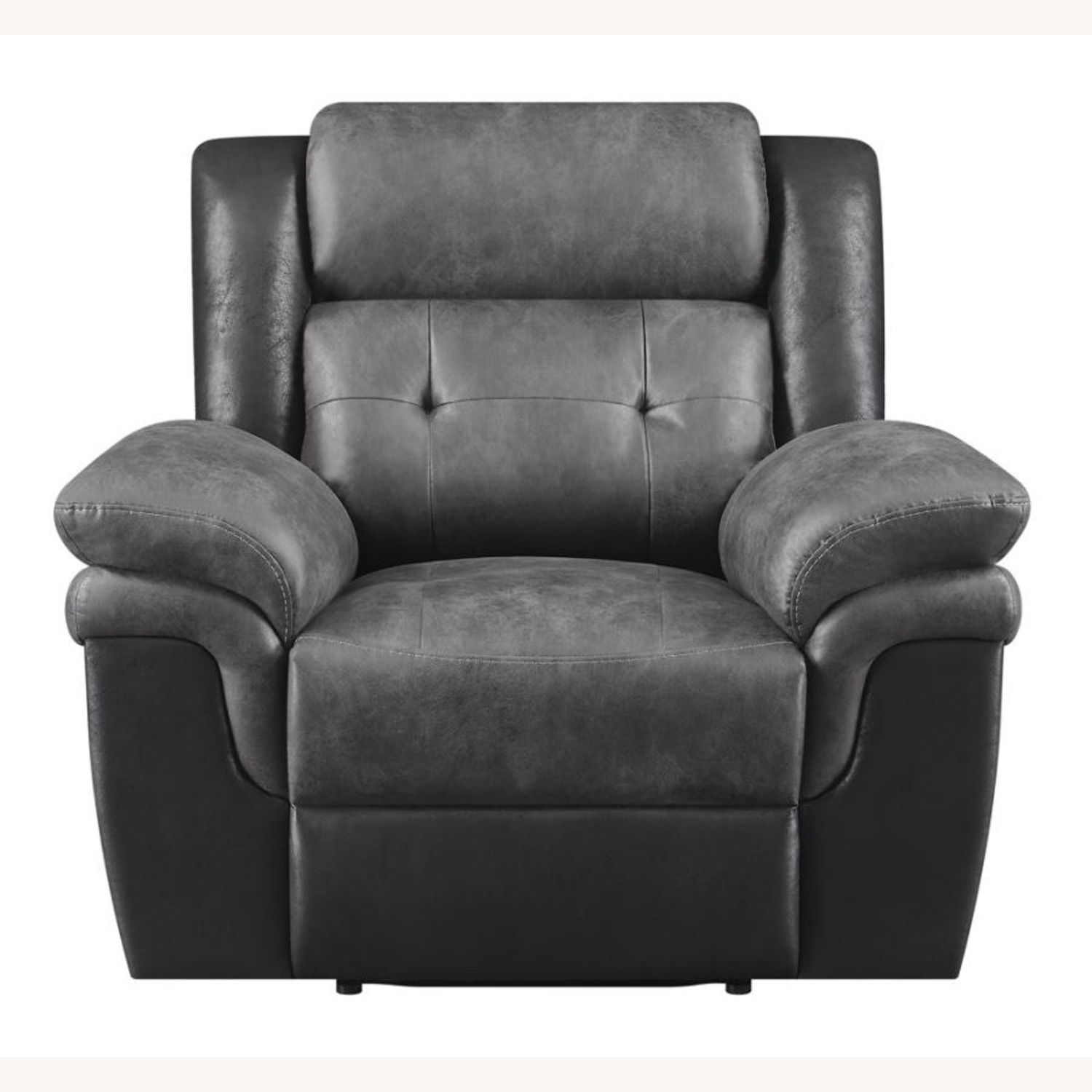 Recliner In Two-Tone Charcoal & Black Upholstery - image-2