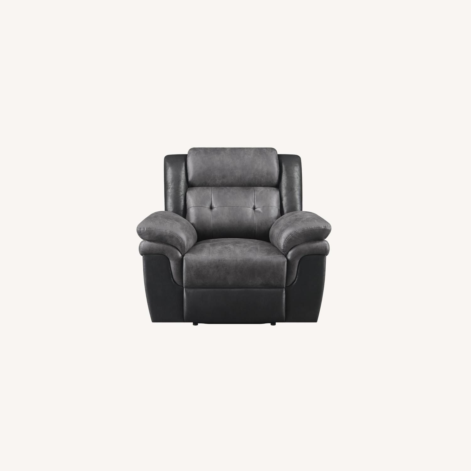 Recliner In Two-Tone Charcoal & Black Upholstery - image-9