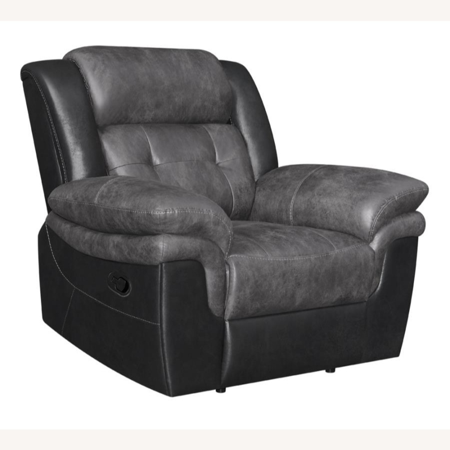 Recliner In Two-Tone Charcoal & Black Upholstery - image-0