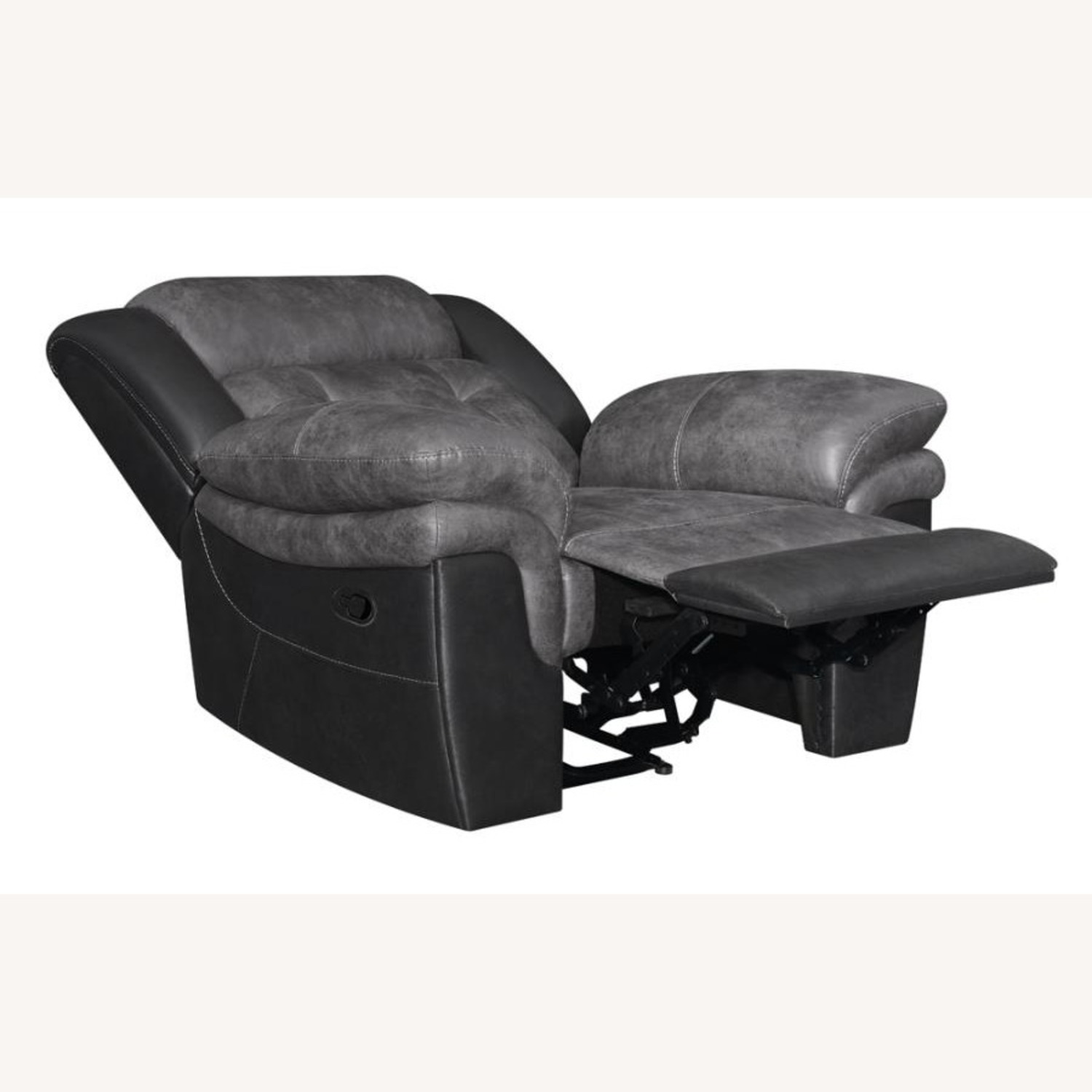 Recliner In Two-Tone Charcoal & Black Upholstery - image-1