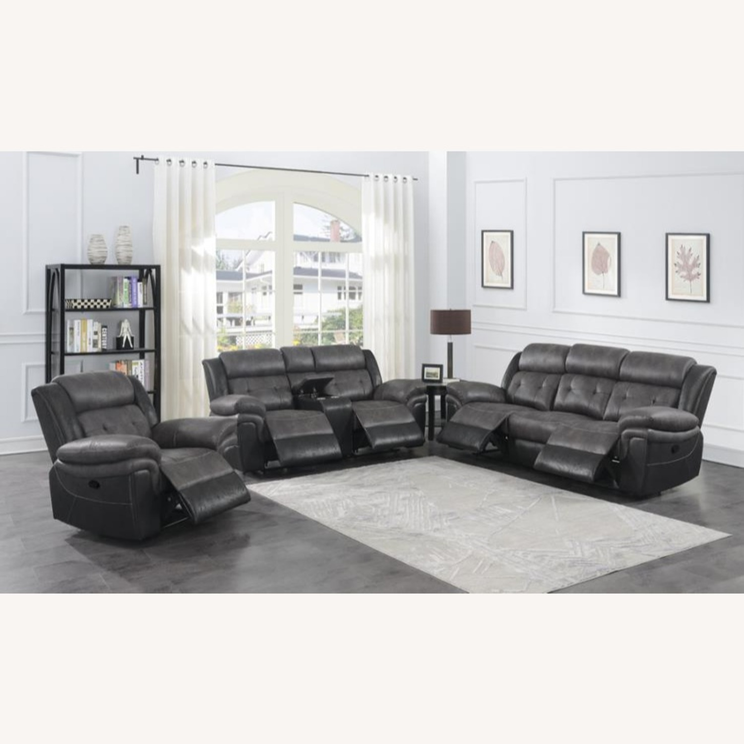 Recliner In Two-Tone Charcoal & Black Upholstery - image-8
