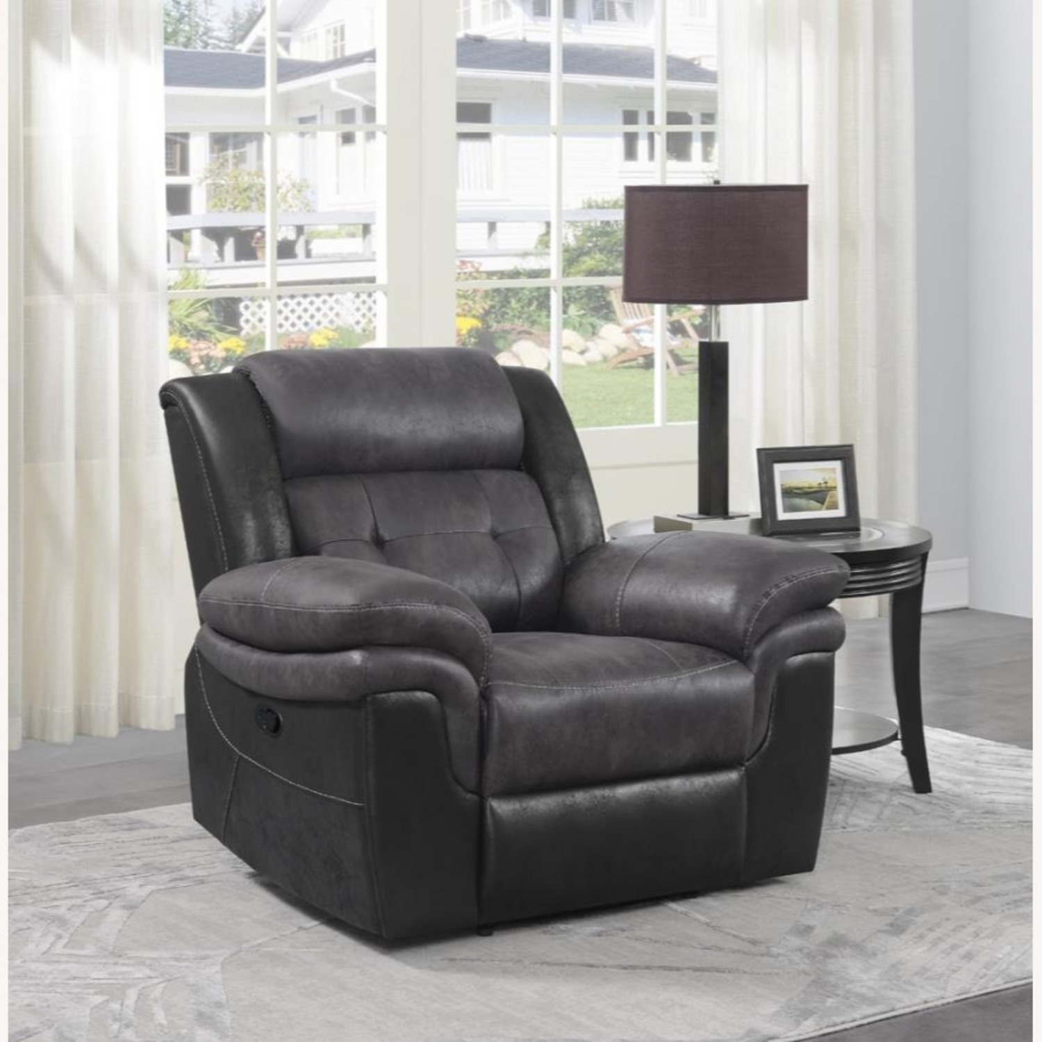 Recliner In Two-Tone Charcoal & Black Upholstery - image-7