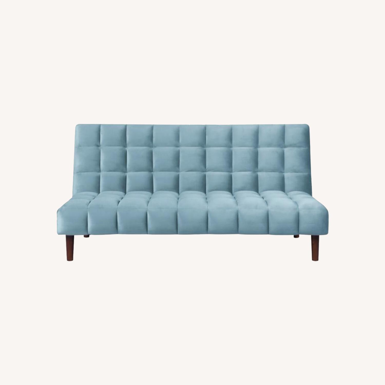 Sofa Bed Upholstered In Teal Velvet - image-5