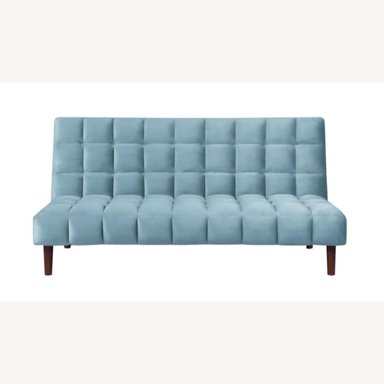 Sofa Bed Upholstered In Teal Velvet - image-0