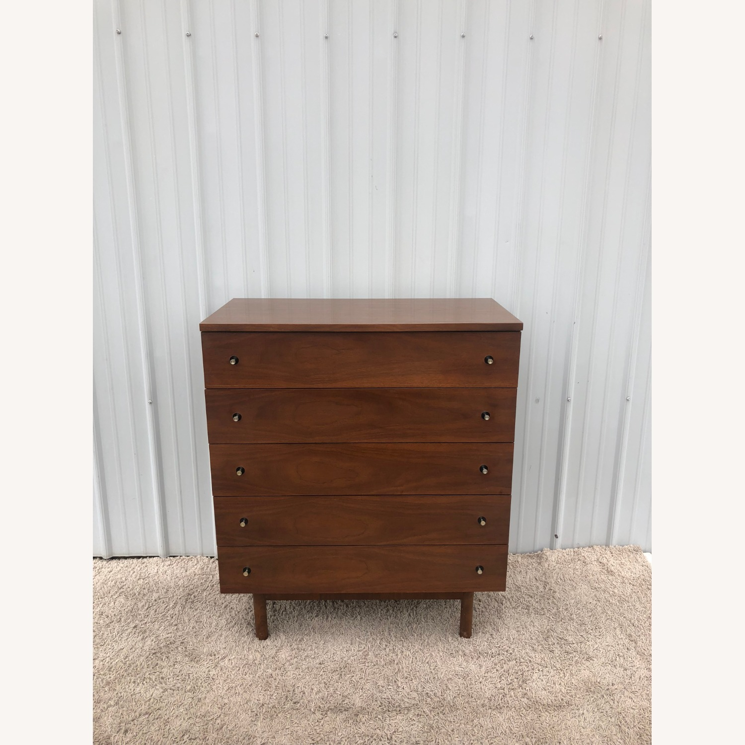 Mid Century Highboy Dresser with Chrome Pulls - image-6