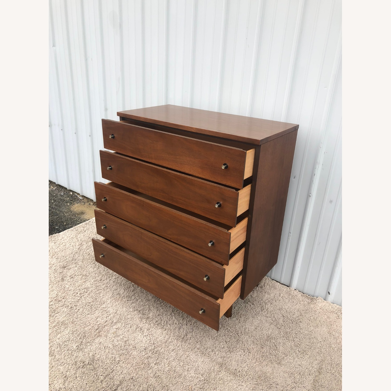 Mid Century Highboy Dresser with Chrome Pulls - image-11