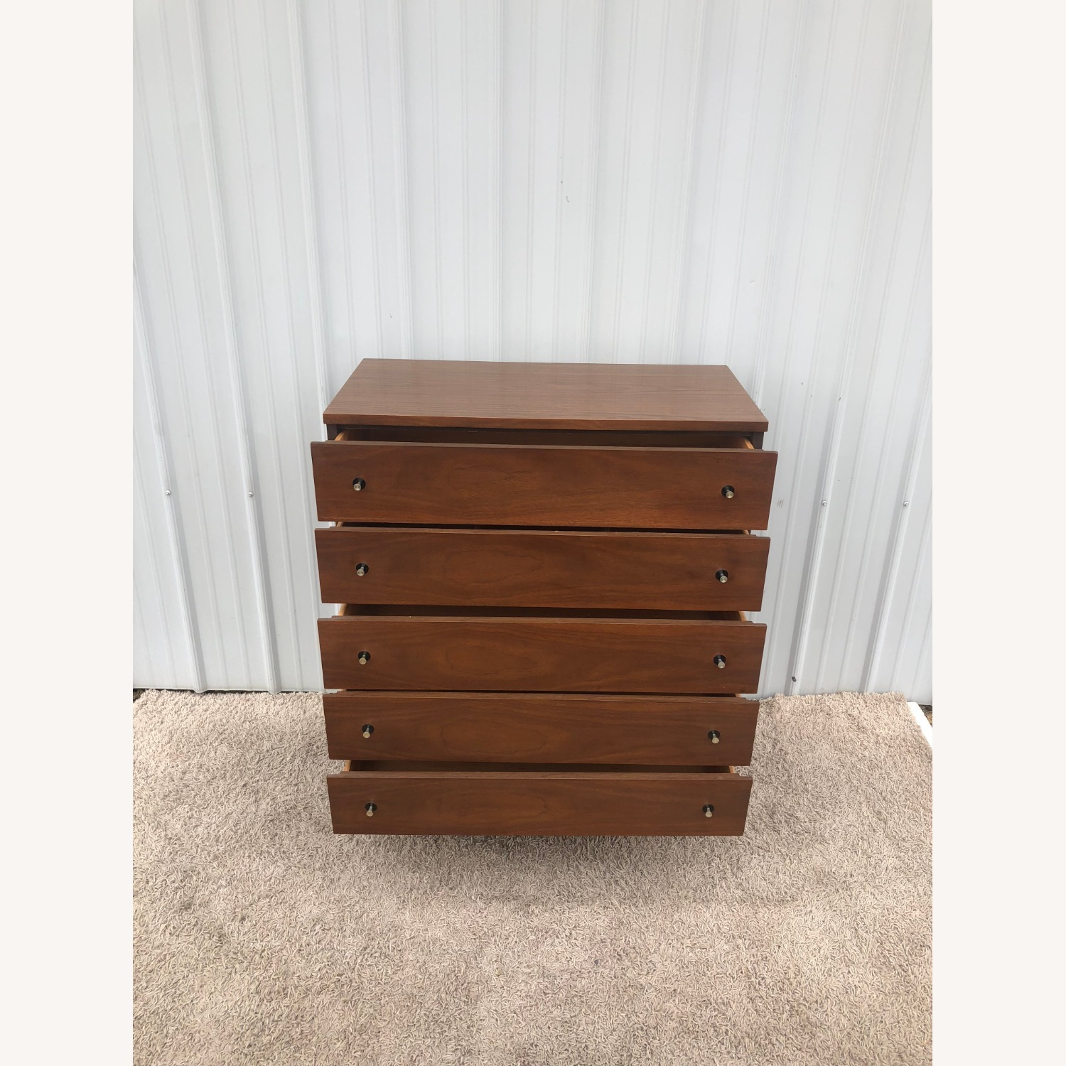 Mid Century Highboy Dresser with Chrome Pulls - image-15