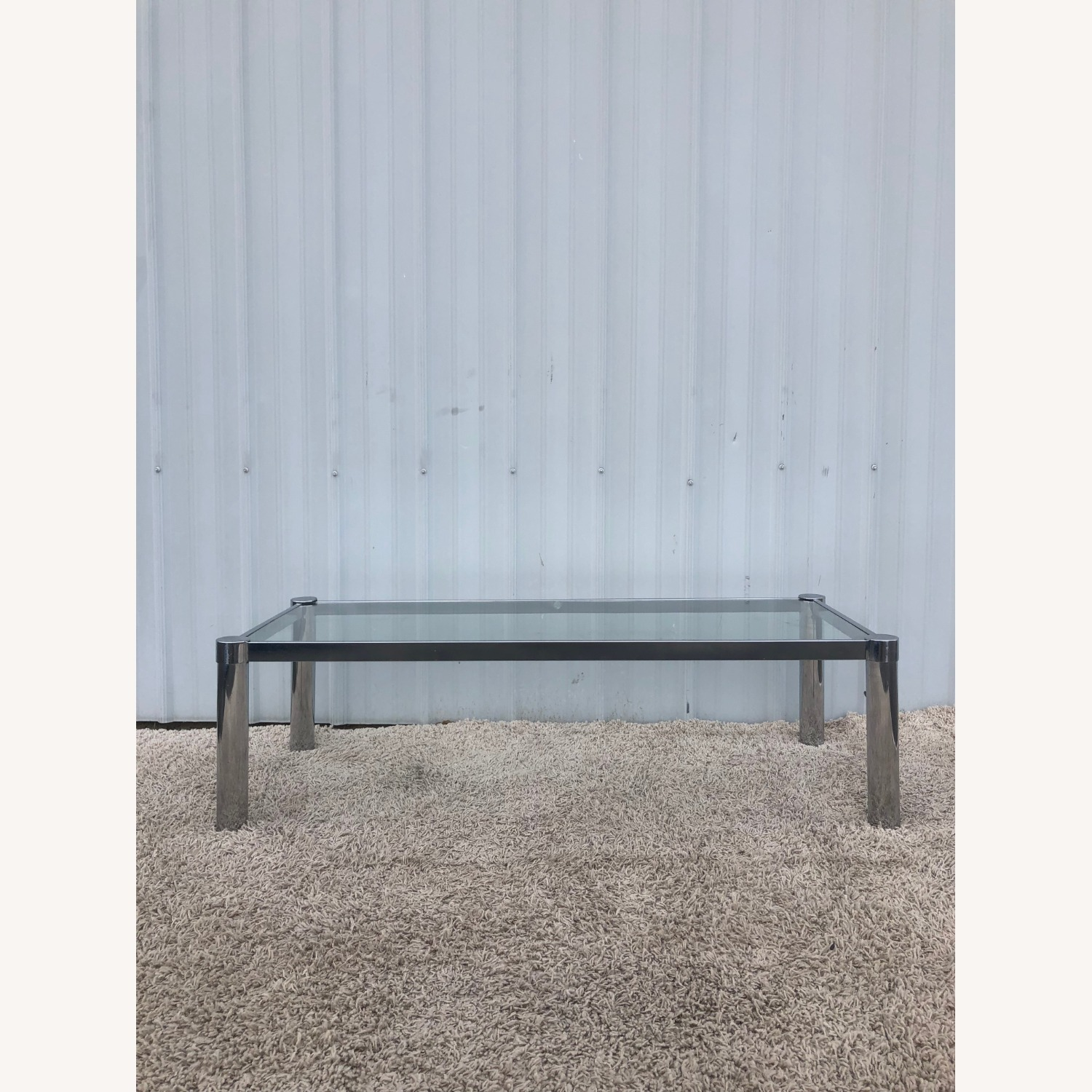 Mid Century Chrome and Glass Coffee Table - image-1
