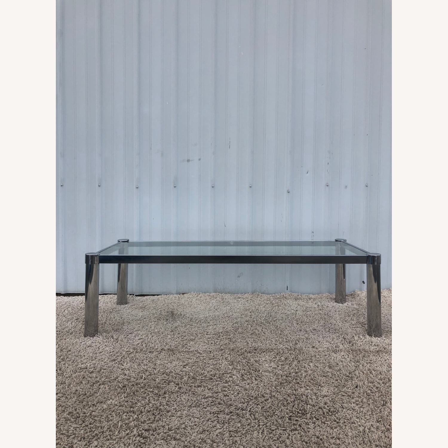 Mid Century Chrome and Glass Coffee Table - image-3