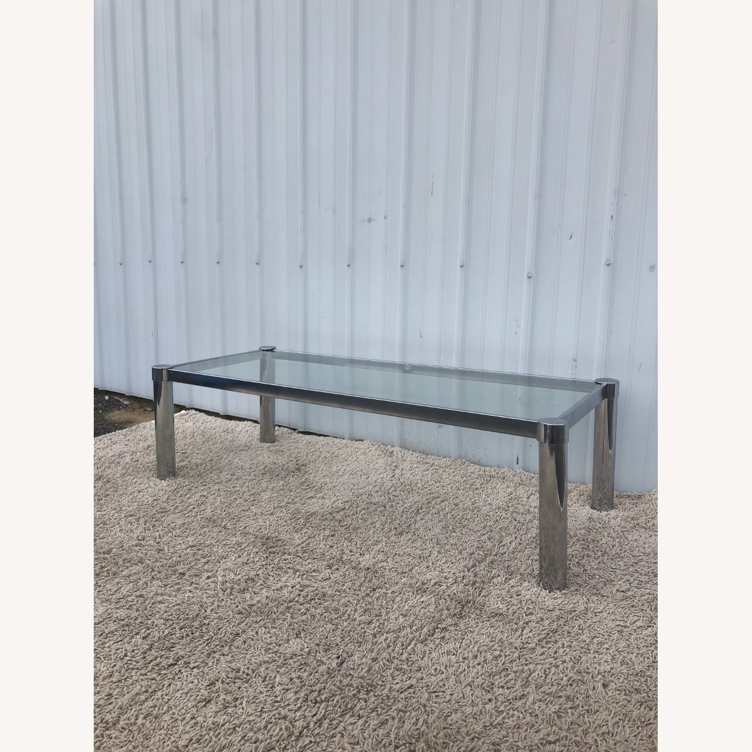 Mid Century Chrome and Glass Coffee Table - image-9