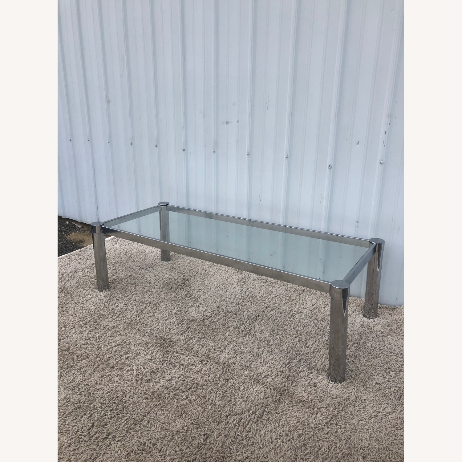 Mid Century Chrome and Glass Coffee Table - image-10