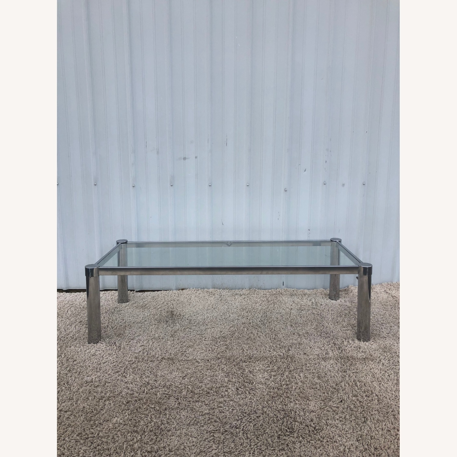 Mid Century Chrome and Glass Coffee Table - image-2