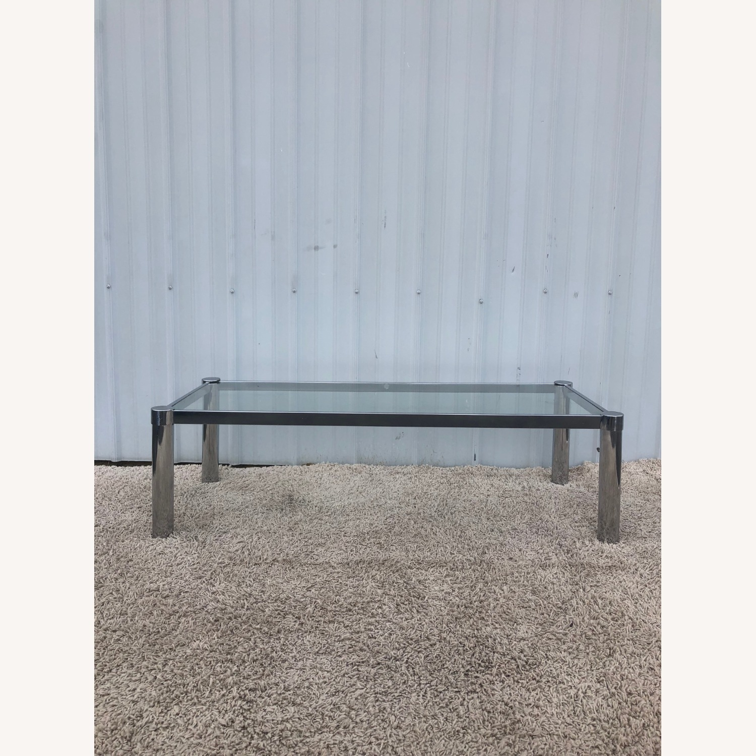 Mid Century Chrome and Glass Coffee Table - image-6