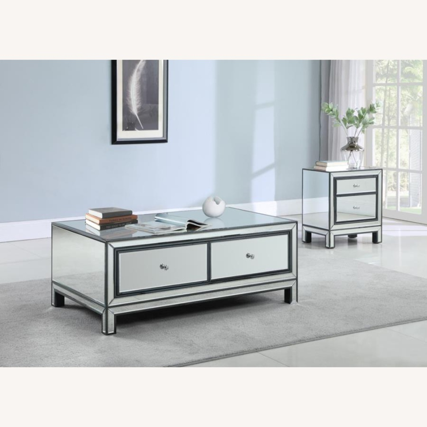 End Table W/ Mirrored Drawers In Silver Finish - image-2