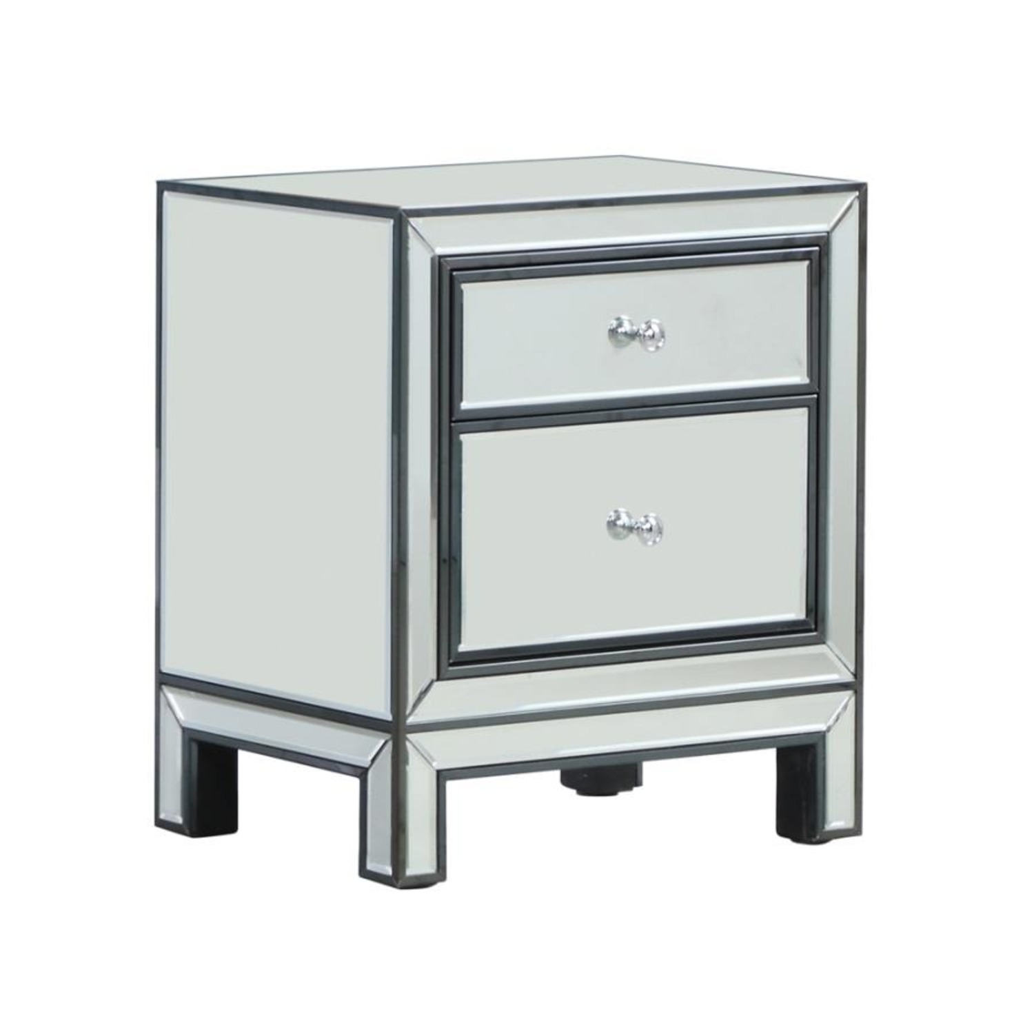 End Table W/ Mirrored Drawers In Silver Finish - image-0