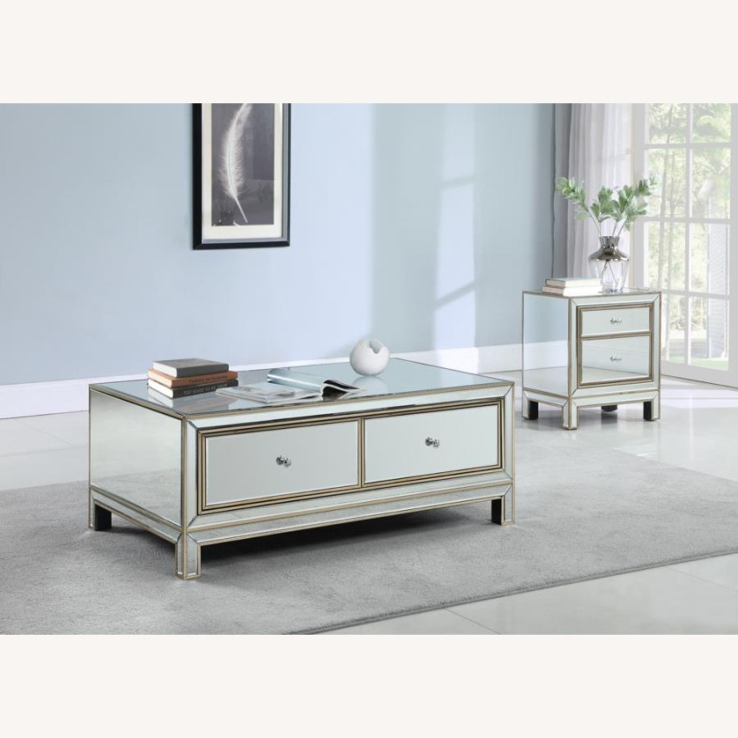 End Table In Silver & Champagne Finish - image-3