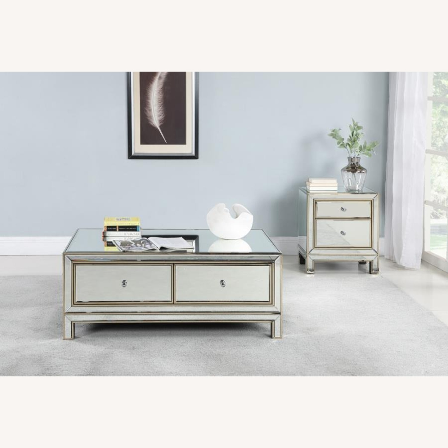End Table In Silver & Champagne Finish - image-2