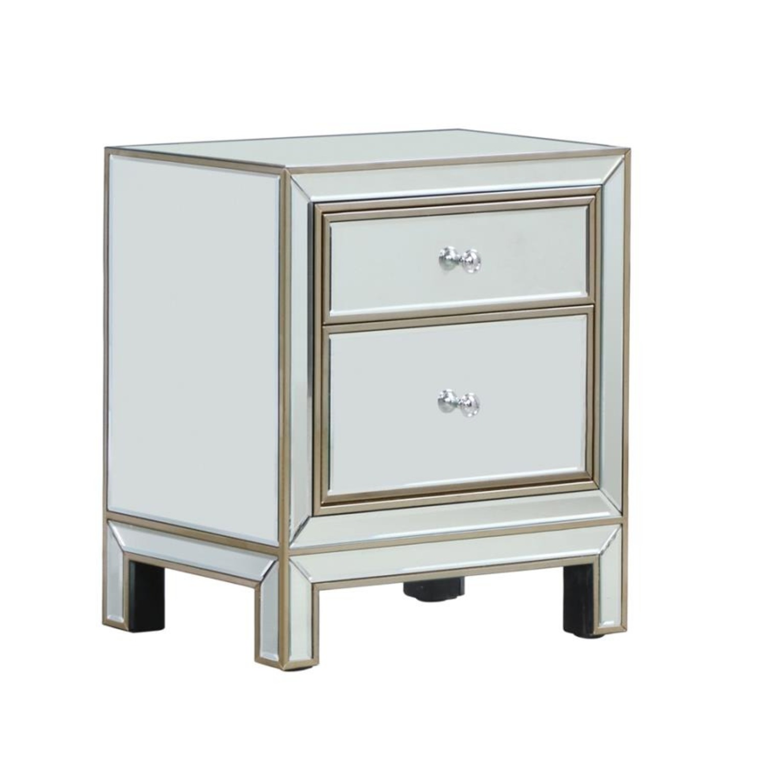 End Table In Silver & Champagne Finish - image-0
