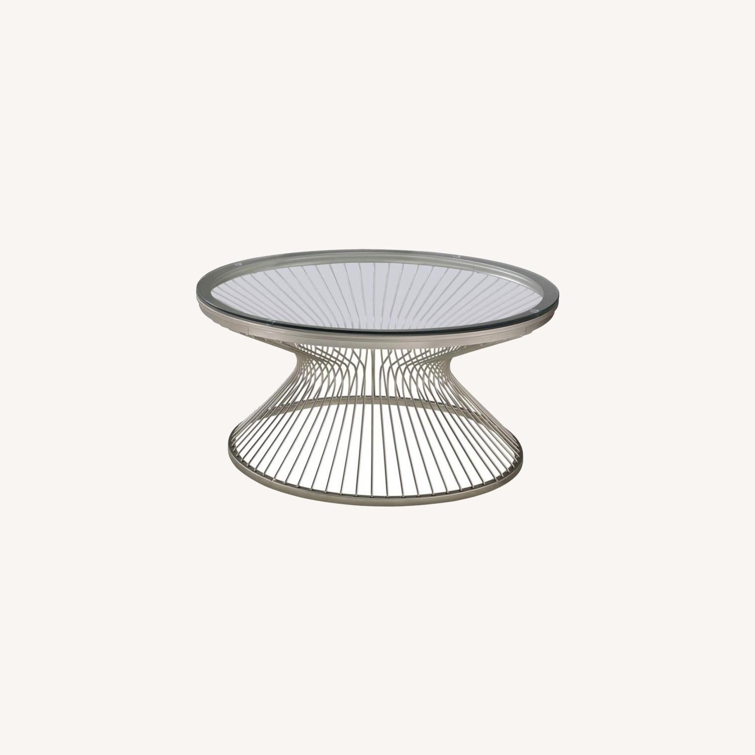 Coffee Table In Satin Nickel W/ Tempered Glass - image-3