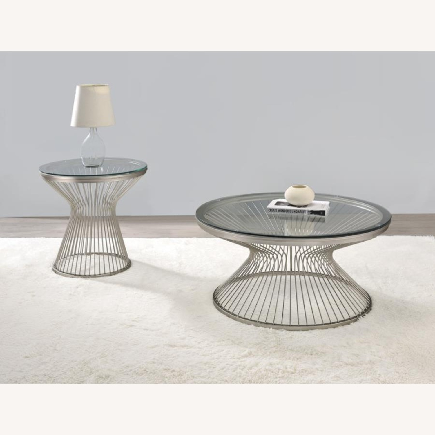 Coffee Table In Satin Nickel W/ Tempered Glass - image-2
