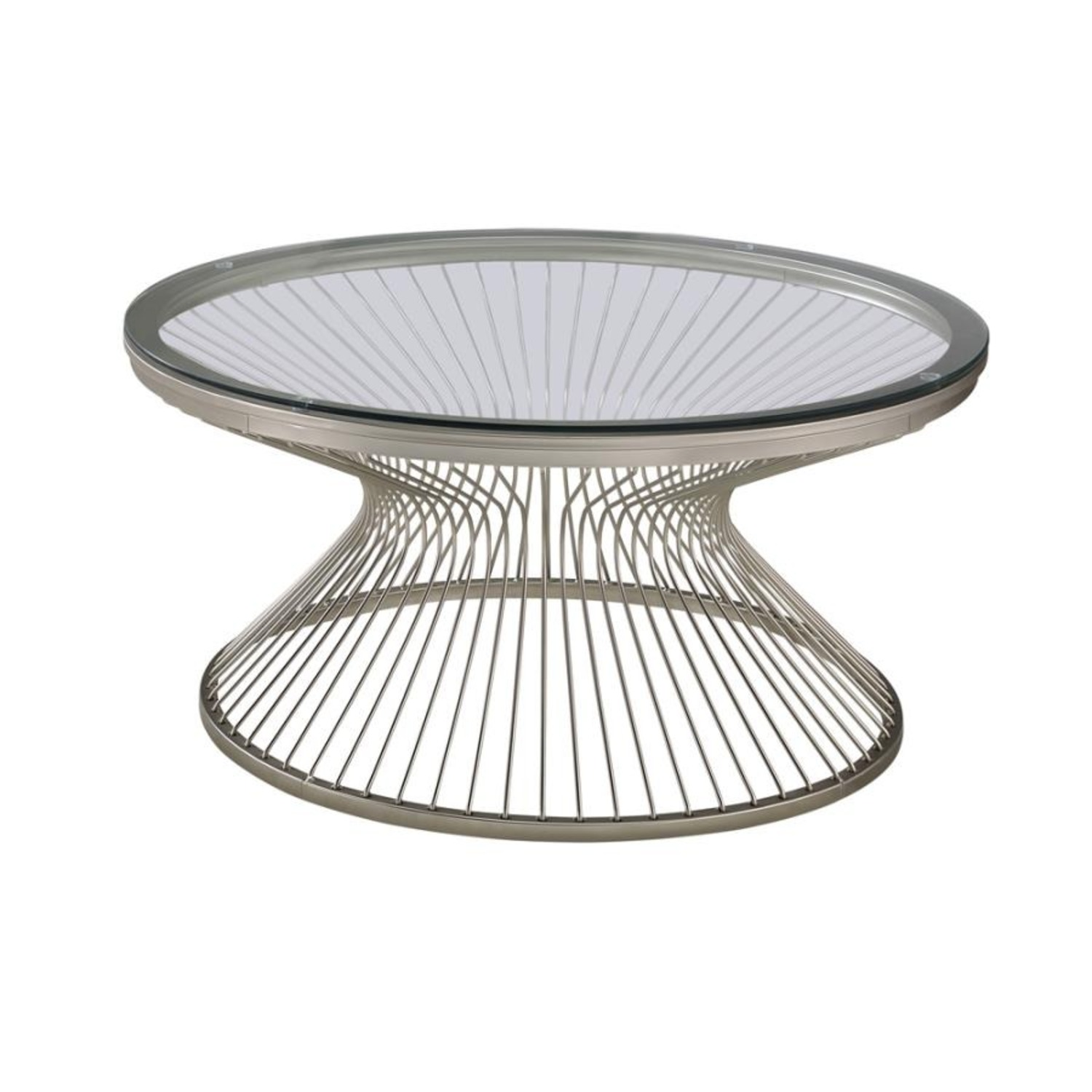Coffee Table In Satin Nickel W/ Tempered Glass - image-1