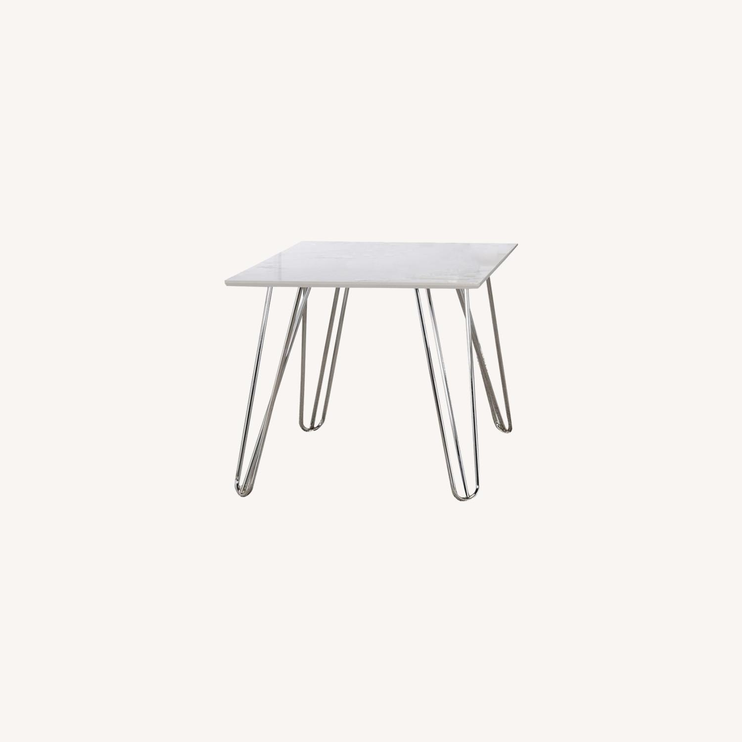 End Table In White Faux Marble Finish - image-3