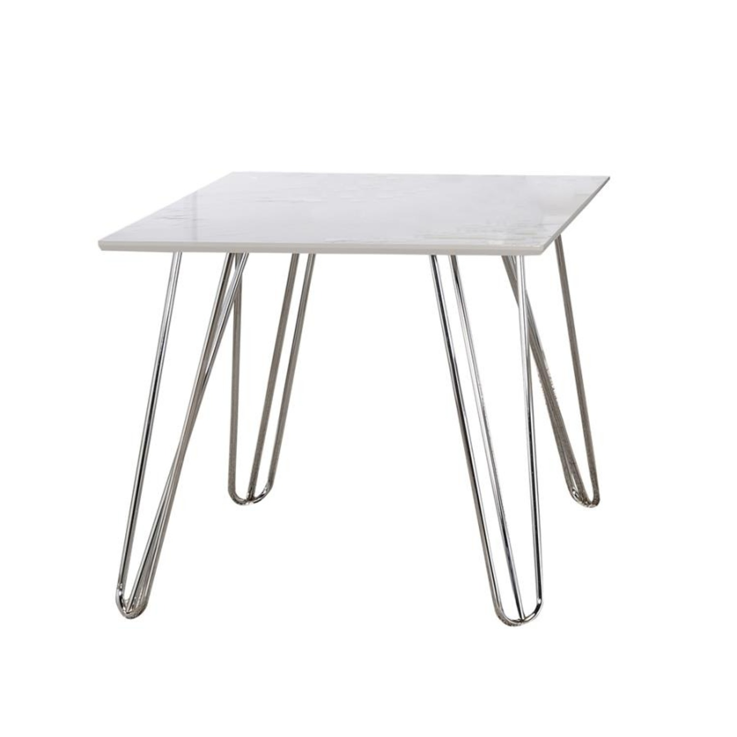 End Table In White Faux Marble Finish - image-0