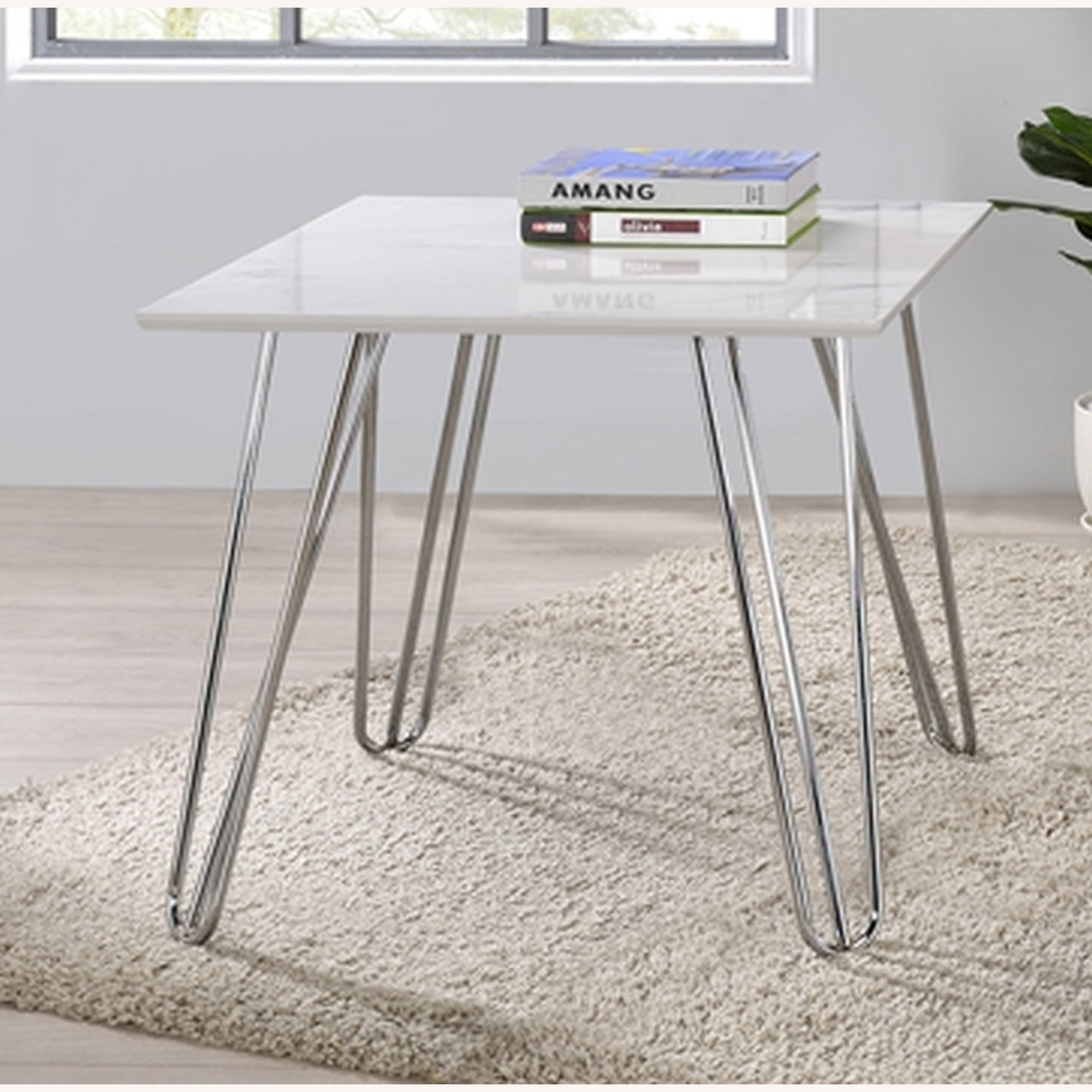 End Table In White Faux Marble Finish - image-1