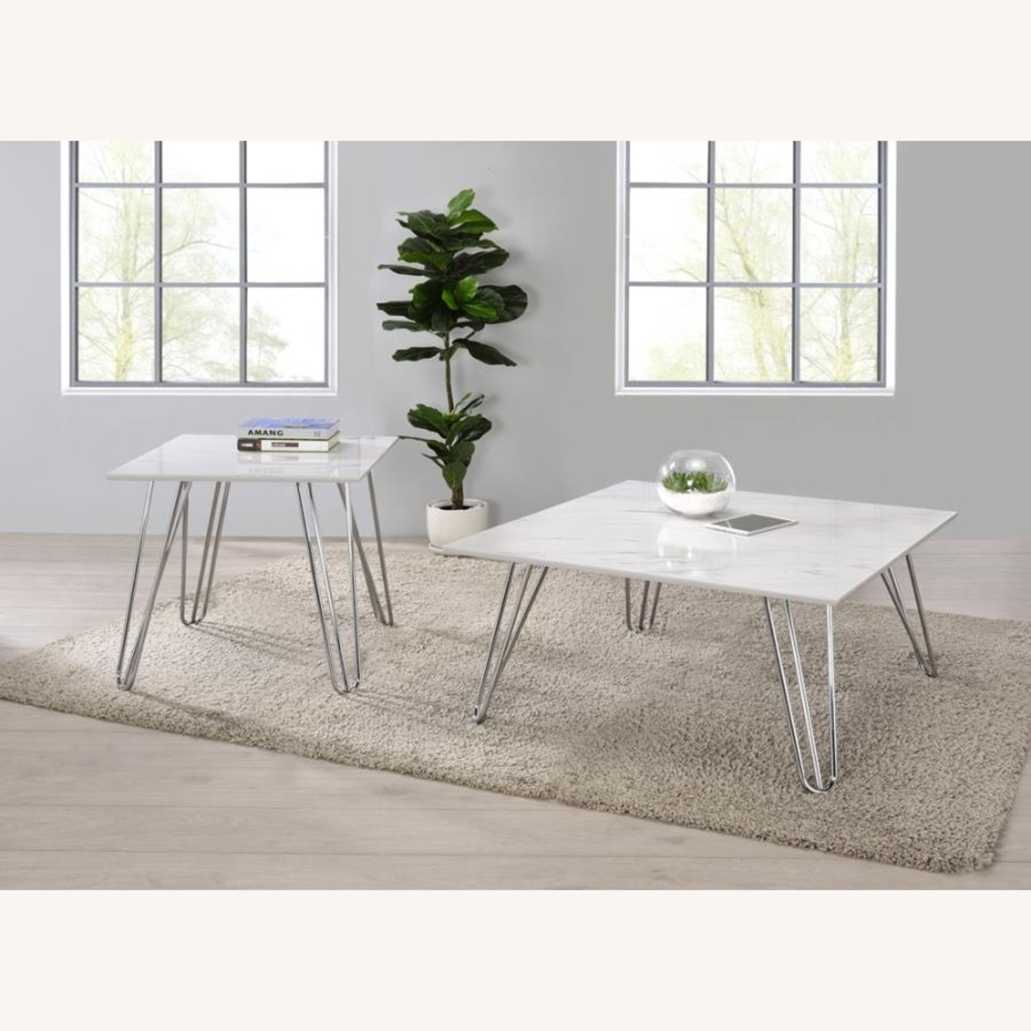 End Table In White Faux Marble Finish - image-2
