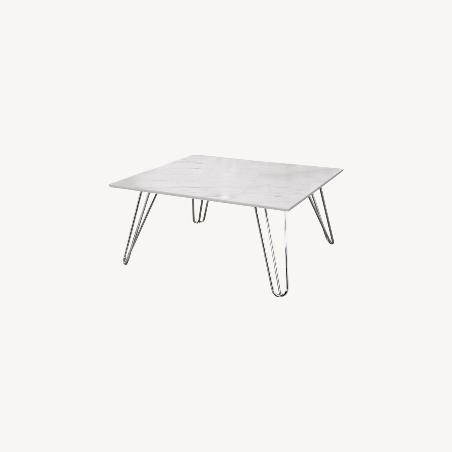 Coffee Table In White Faux Marble Finish - image-3
