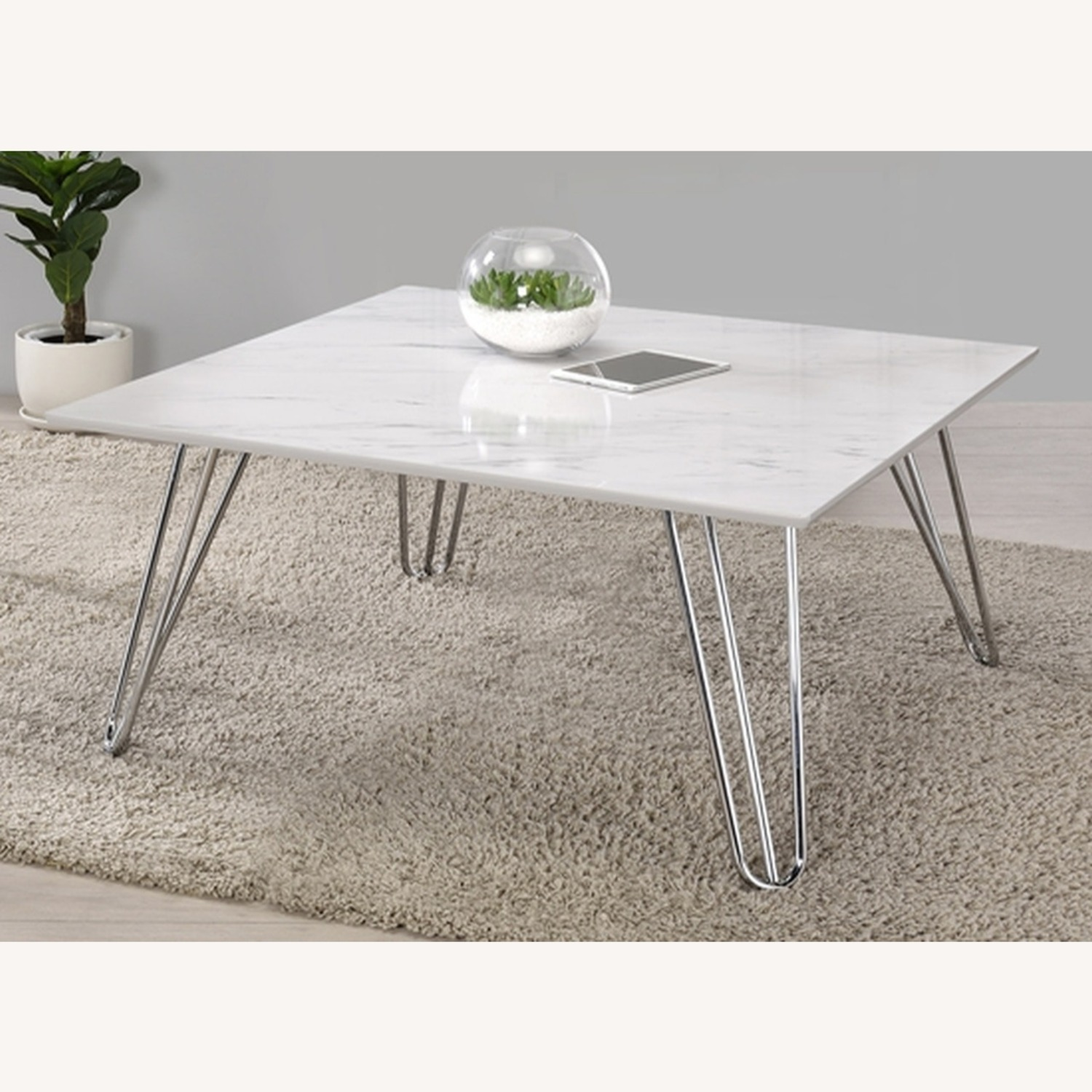 Coffee Table In White Faux Marble Finish - image-1