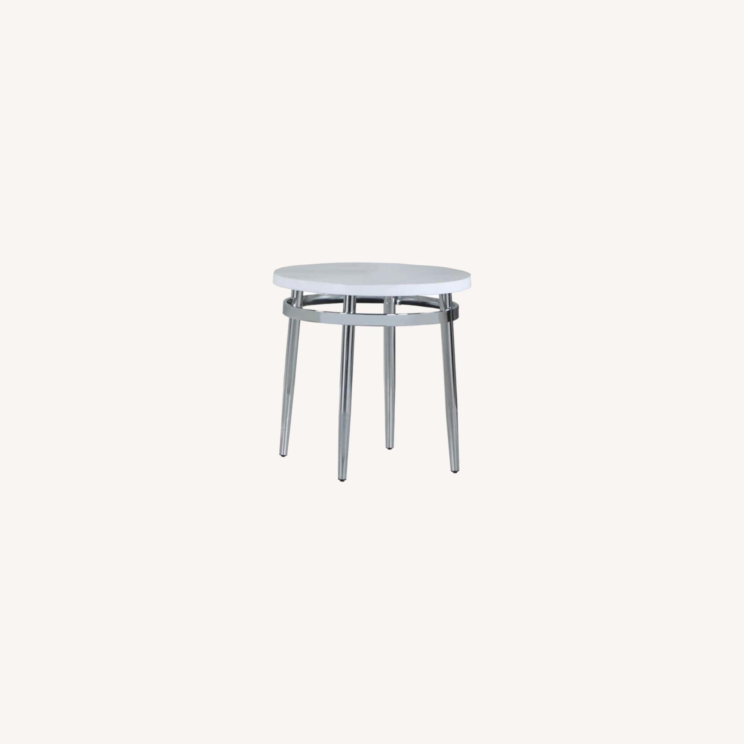 End Table In Faux Carrara Marble Top - image-3