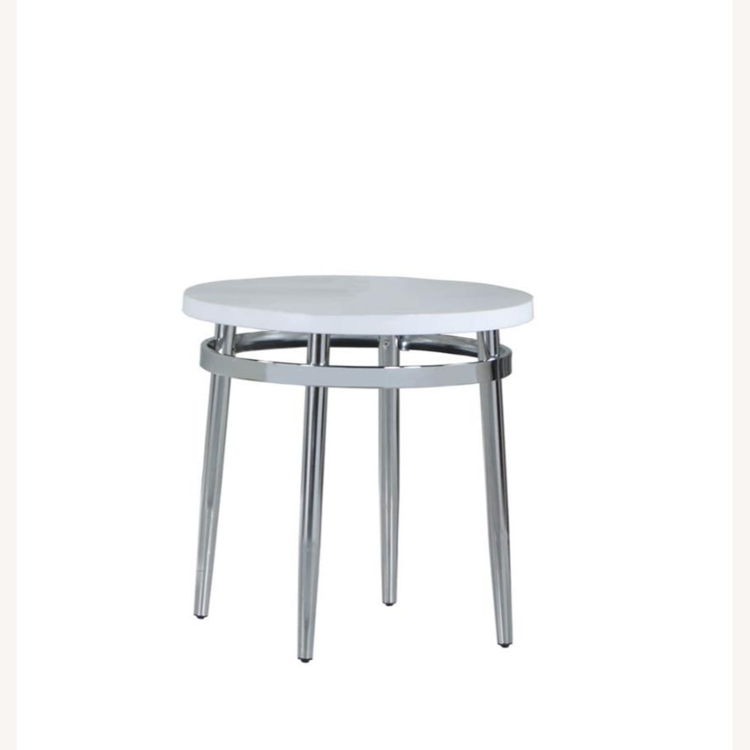 End Table In Faux Carrara Marble Top - image-0