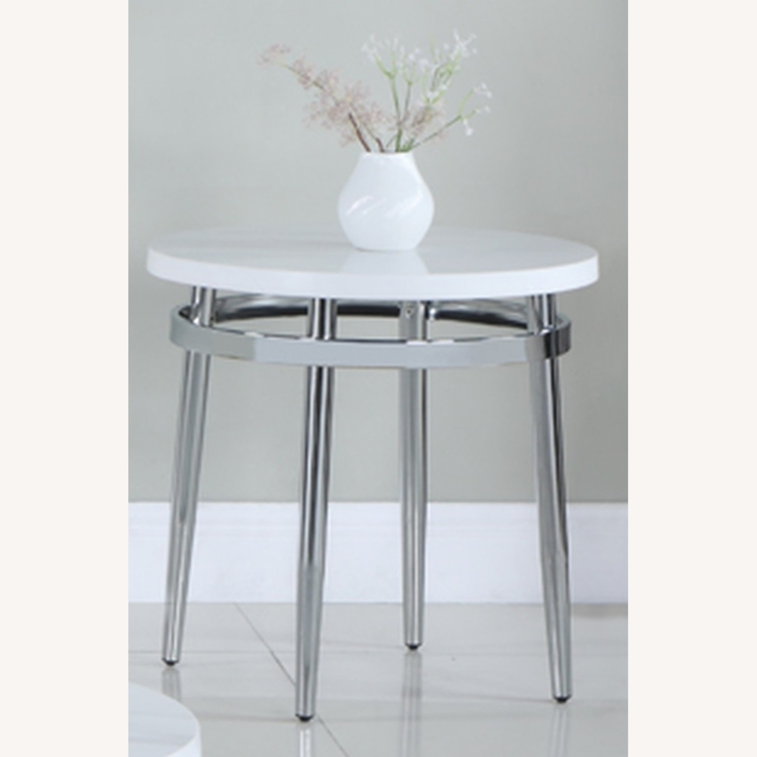 End Table In Faux Carrara Marble Top - image-1