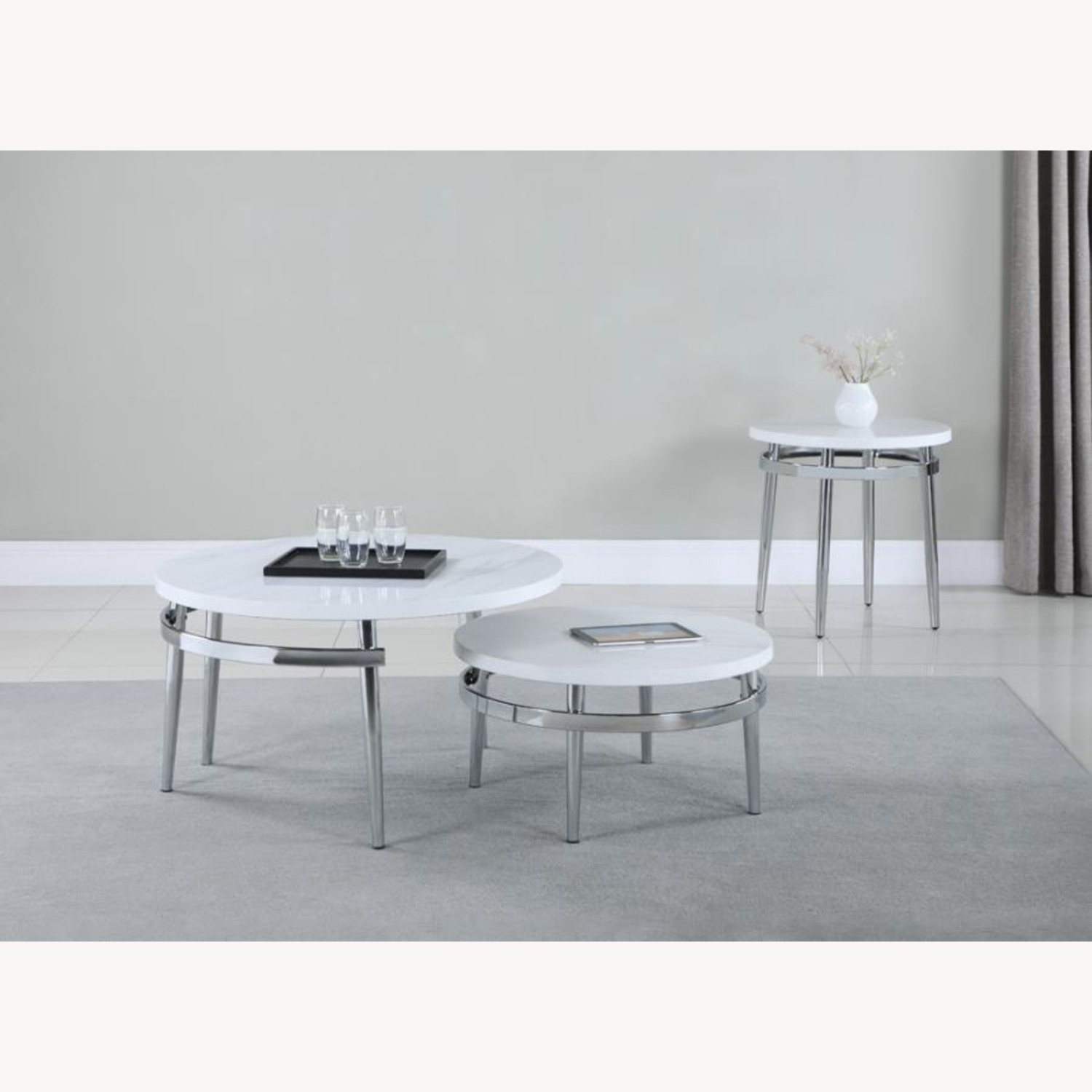 End Table In Faux Carrara Marble Top - image-2