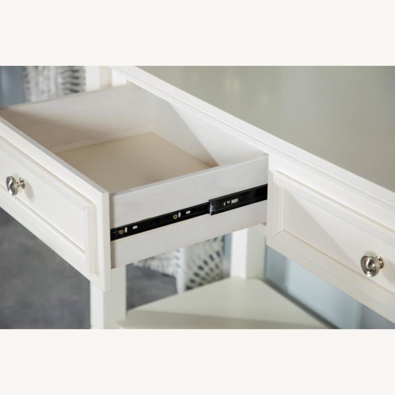 End Table In Brushed Nickel Finish W/ Lower Shelf - image-1