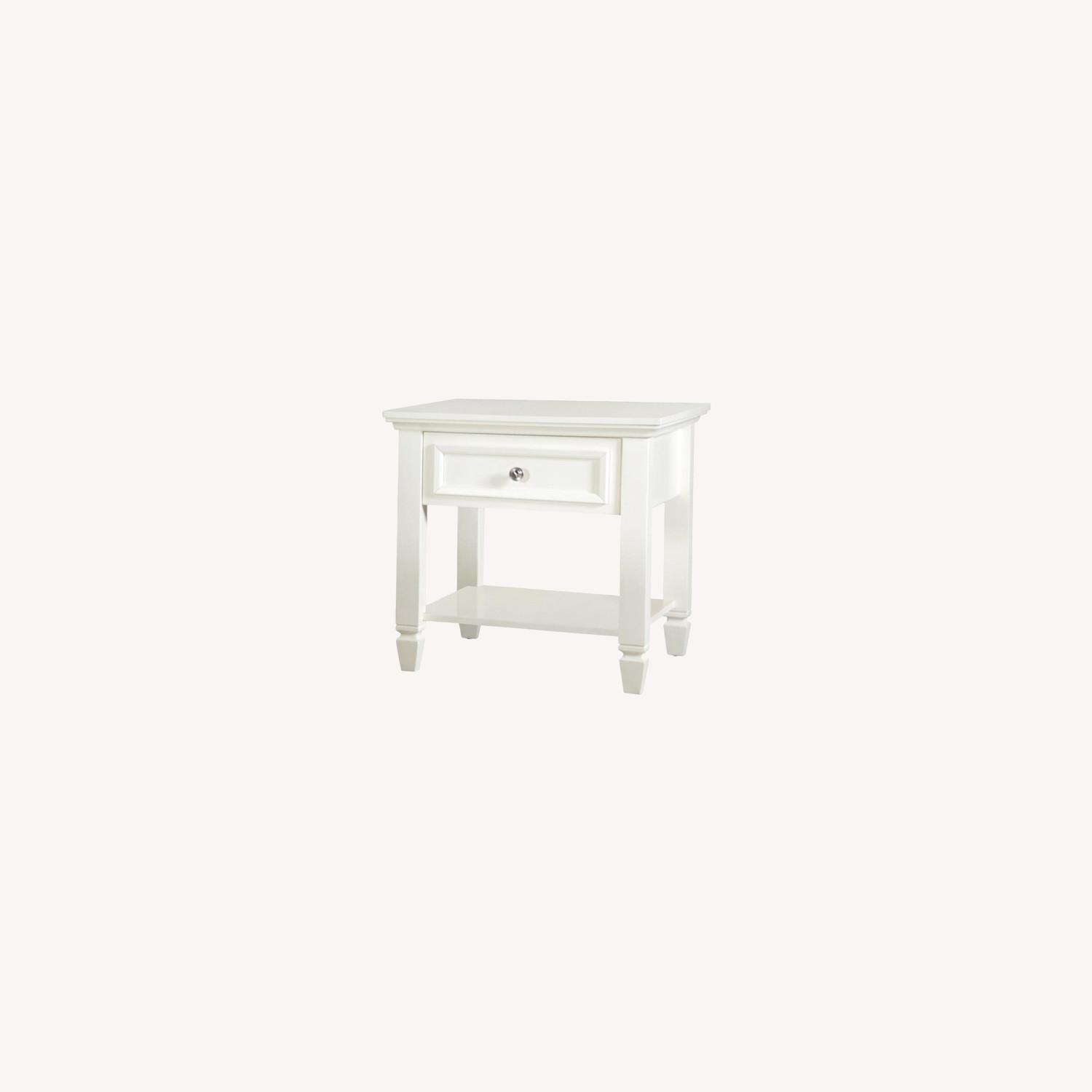 End Table In Brushed Nickel Finish W/ Lower Shelf - image-4