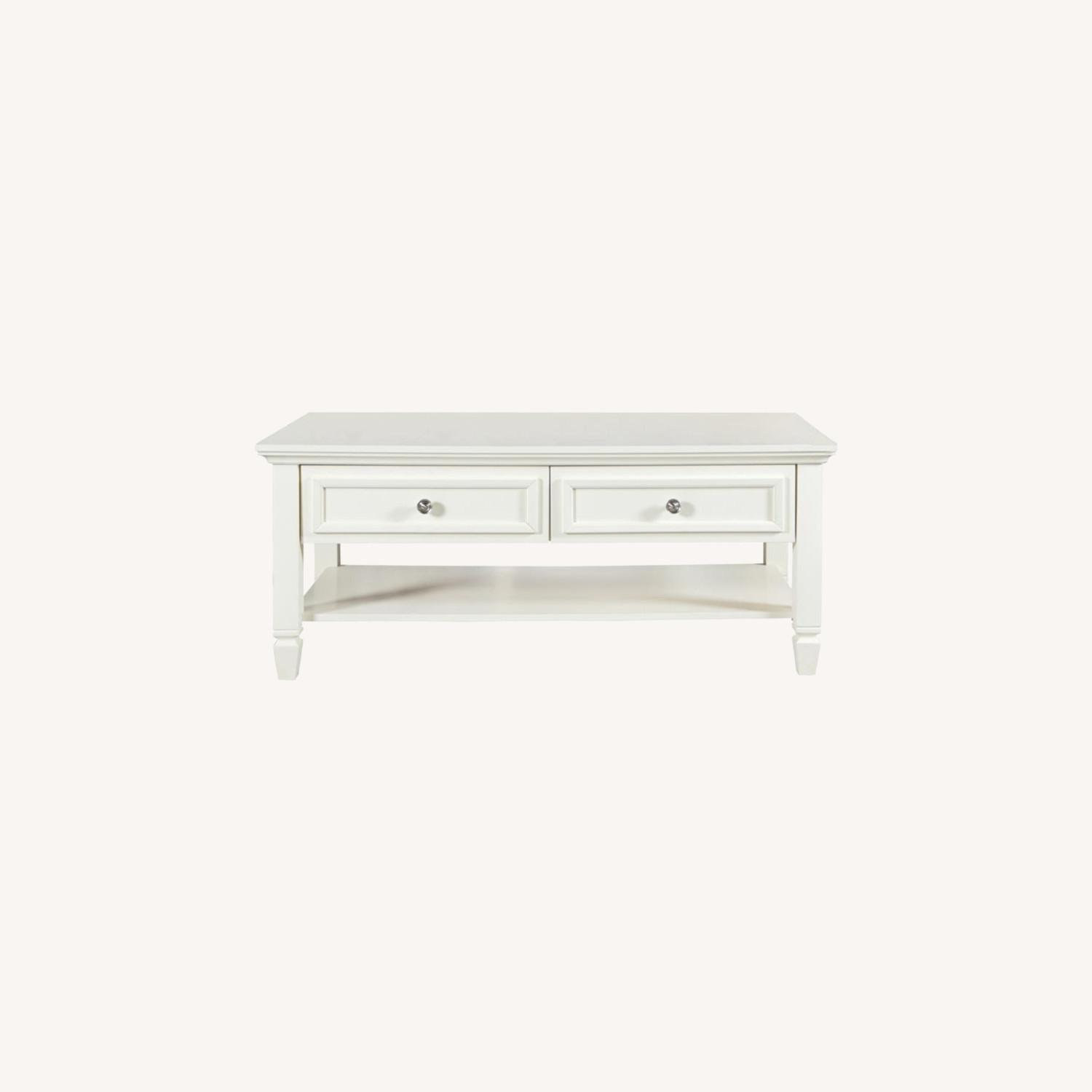 Coffee Table In Brushed Nickel W/ 2 Drawers - image-4