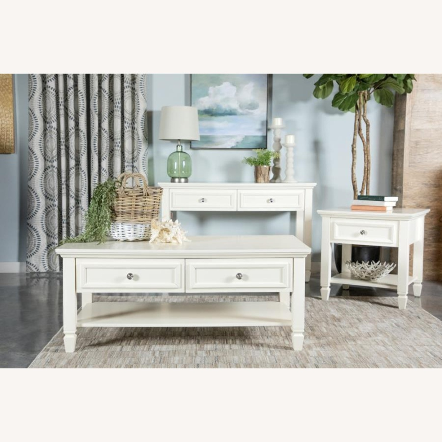 Coffee Table In Brushed Nickel W/ 2 Drawers - image-3