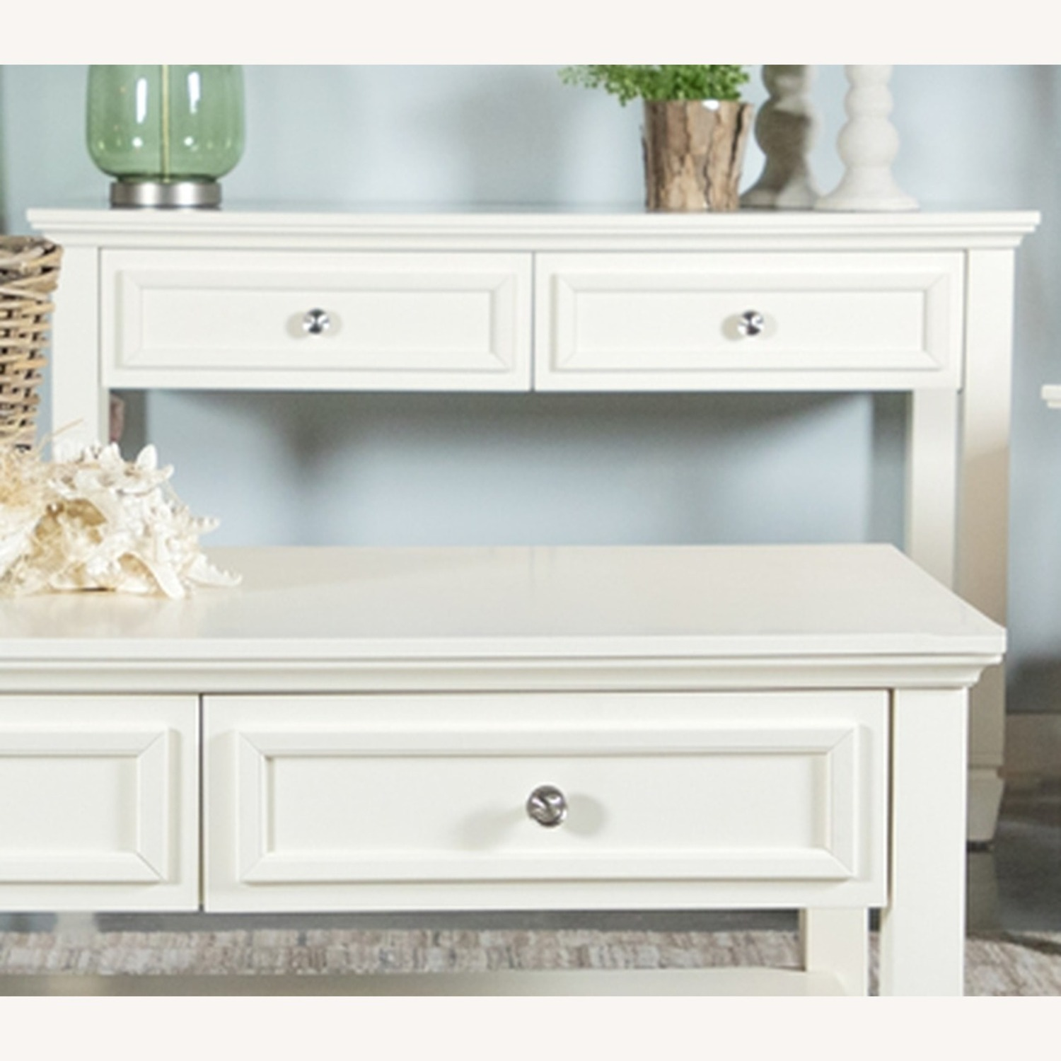 Sofa Table In White/Brushed Nickel - image-0