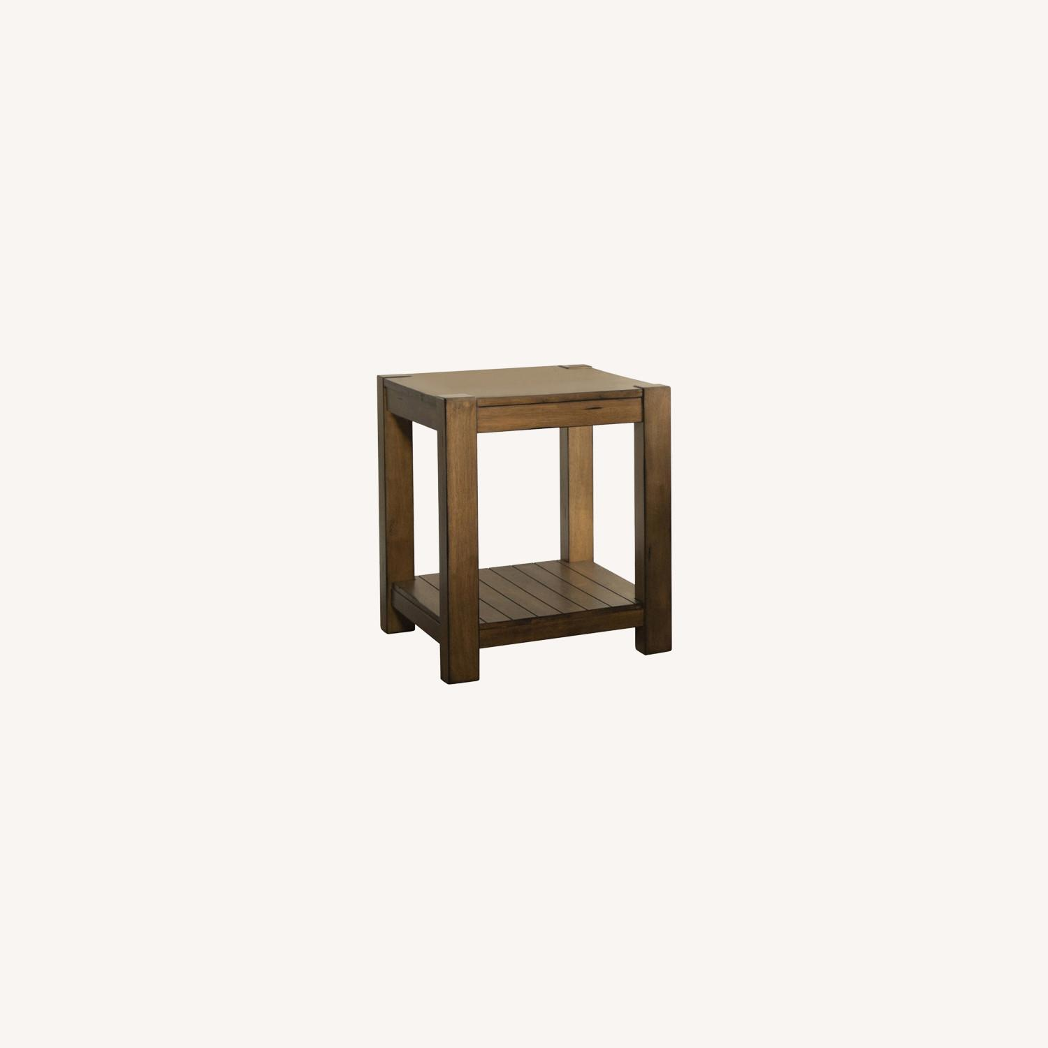 End Table In Solid Wood Rustic Brown Finish - image-4