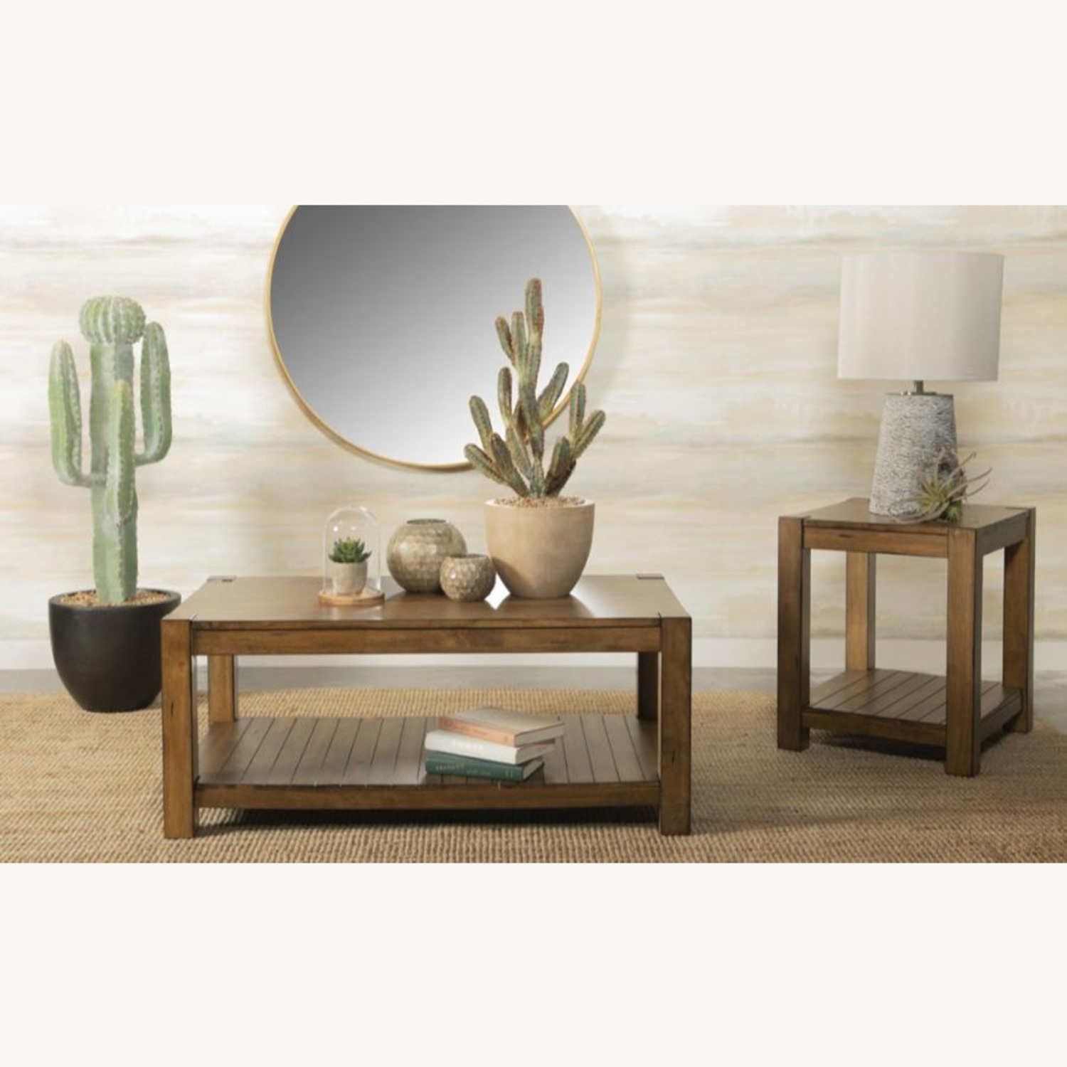 End Table In Solid Wood Rustic Brown Finish - image-3